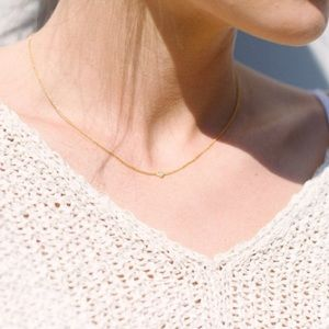 Jewelry - Dainty Rose Gold Micro Pave Heart CZ Choker